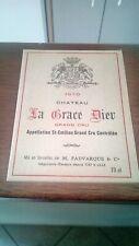 Étiquette De Vin Château La Grâce Dieu Saint Émilion Grand Cru 1970 Neuve