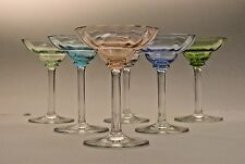 Set of 6 Old Art Deco Stemmed Coupe Cordials Different Colors - 1 has rim chip