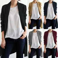 ZANZEA Women's Long Sleeve Casual Lapel Jacket Coat Open Front Cardigan Blazer