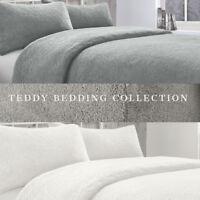TEDDY BEAR Fleece Duvet Cover with Pillow Case Thermal Warm Bedding Set