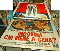 Guess Whom Alone IN Dinner? Manifesto 4F Original 1967 Tracy Hepburn