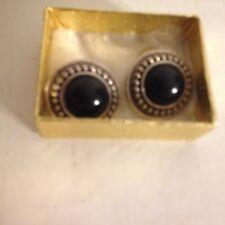 "Vintage Silver Tone Metal Button Black Dome Bead Pierced Earrings 1"""