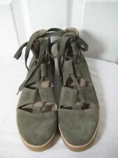 M4DE Green Suede Leather Cut Out Booties Shoes Womens Size 7.5 M