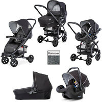 Hauck Malibu 4 Trio Travel System Pushchair Pram Carseat Black/Silver+Raincover