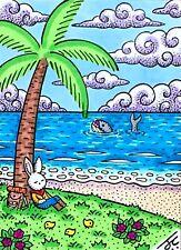 ACEO Original Fantasy Illustration Art Rabbit Ocean Whale Palm Tree Flowers