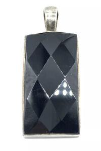 Retired Silpada Sterling Silver Faceted Black Onyx Rectangular Pendant S1252 B2