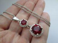 Gorgeous Silver Tone Ruby Glass Rhinestone Drop Pendant Necklace