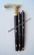 Vintage Designer Brass Handle Cane Wooden Walking Stick Antique Style Victorian
