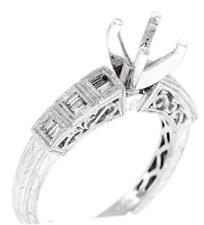 VS1 Diamond Engagement Ring Setting 18k White Gold 0.30ct Baguette
