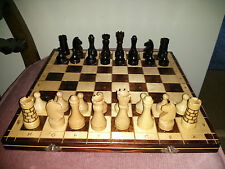 """Vintage wooden chess set with 14"""" board"""