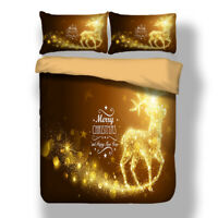 Christmas Gold Bedding Set Xmas Elk Duvet Quilt Cover Pillow Cases All Sizes HD