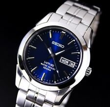 NEW MEN'S BLUE DIAL SEIKO SAPPHIRE DAY/DATE CASUAL WATCH SGG717P1