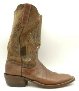 Rios Of Mercedes Brown Smooth Ostrich Handmade Cowboy Western Boots Men's 11 A