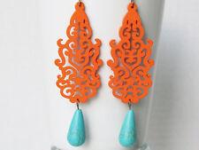 Orange Earrings Orange Jewelry Statement Earrings Boho Chic Jewelry Wood Earring