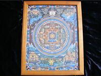 BUDDHA LIFE MANDALA THANGKA IM EDLEN KIRSCHHOLZRAHMEN BUDDHISMUS TIBET NEPAL