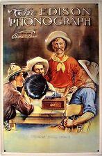 The Edison Phonograph Cowboys Blechschild Schild 3D geprägt Tin Sign 20 x 30 cm