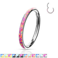 1pc Opal Outer Edge Hinged Segment Ring Septum Clicker 316L Surgical Steel