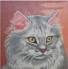 Sale! Gold Eyed Chartreux Cat Close Up Needlepoint Canvas #1010