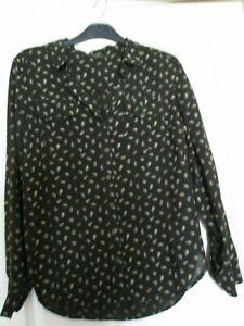 Next ladies black leaf design long sleeve blouse shirt Size 8.summer workwear