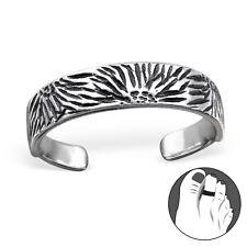 Tjs 925 Sterling Silver Toe Ring Abstract Flower Burst Adjustable Jewellery