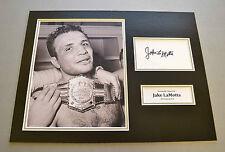 Jake LaMotta Signed 12x16 Photo Display Raging Bull Memorabilia Autograph + COA