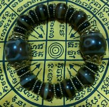 nine eye tibetan bead antique THAI AMULET bracelet MONEY TALISMAN DZI BLACK LOVE