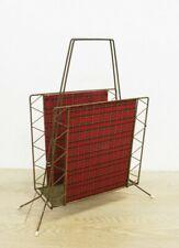 Vintage Magazine Newspaper Rack Metal & Red Fabric 1950's E/0167