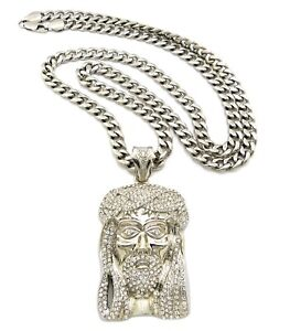 """ICE BLING JESUS PIECE WITH 6mm 36"""" STAINLESS STEEL CUBAN CHAIN"""