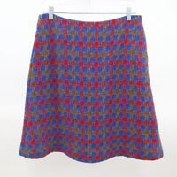 Boden A-Line Skirt Womens Wool Tweed Boucle Houndstooth Blue Red US 8R