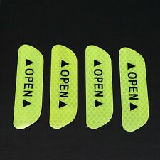 4x Fluorescent Yellow Car Door Open Sticker Reflective Tape Safety Warning Decal