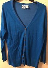 Diane Gilman Cardigan XL Blue Stretch Button Front V Neck Retro Vintage Sequins