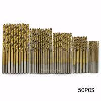 50pcs Titanium Coated HSS High Speed Steel Drill Bit Set DIY Woodworking Tool
