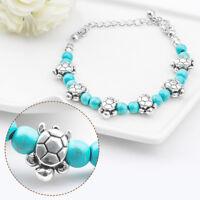 Tibetan Silver Turquoise Stone Bead Bracelet Chain Elephant Charm Jewelry Hot