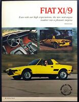 1974 Fiat X1/9 Mid-Engine Bertone Coupe Road Test Technical Data Review Article