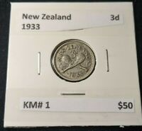 New Zealand 1933 Threepence 3d KM# 1   #318