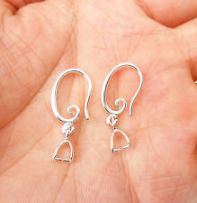 NEW Crystal Beads 925 Silver Plated Smooth Pinch Bail Earring Hook Ear Wire Hook