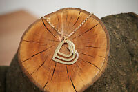 Personalised Tripple Heart Love Pendant Engraved Name Necklace Gold Mum Nan UK