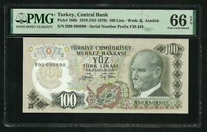 Turkey : 100 Lira 1970 ; PMG : Gem UNC 66 ; EPQ