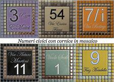 Numero civico + via incisi su piastrella di ceramica e mosaico