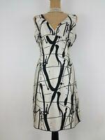 Michael Kors Collection Dress Size 10 Ivory Black Silk Wool Sleeveless Vneck