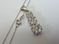 "Ladies 9ct White Gold 1ct Diamond Triple Cluster Pendant & 20"" Chain"