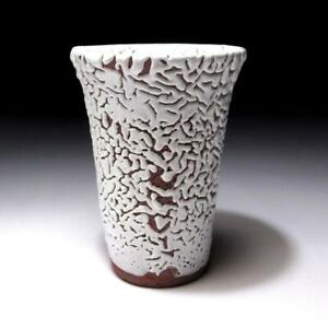 $WH45: Japanese Tumbler Glass, Hagi Ware by Famous potter, Seigan Yamane, White