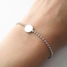Bracelet pastille ronde sur chaîne billes en argent 925/1000 BR131