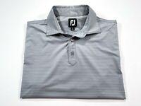 FootJoy L Men's Gray Stripe Short Sleeve Golf Polo Large