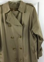 Burberry Tan Double Breasted Belted Trench Coat Nova Check Lining Size 14 X-Long