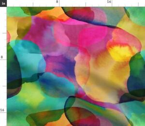 Abstract Watercolor Rainbow Paint Colourful Spoonflower Fabric by the Yard