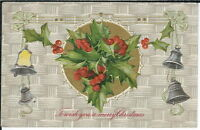 BA-065 To Wish You A Merry Christmas Embossed 1907-1915 John Winsch Uns Postcard