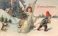 Christmas Angel Cherub Dwarf pulling sledge rabbits embossed 1905 Postcard