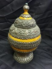 Nepal Tibetan Natural Turquoise & Press Amber Inlay Decor Collection Piece