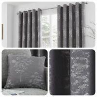 Curtina ELMWOOD Graphite Grey - Jacquard Woven Eyelet Curtains & Cushions